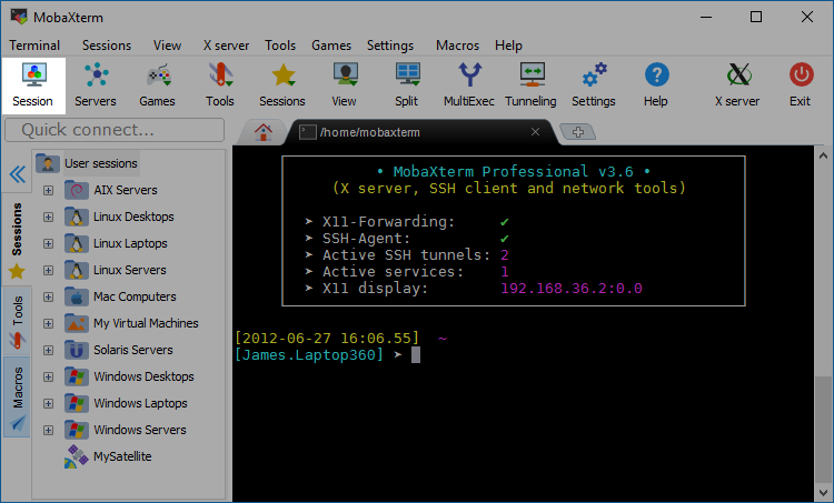 MobaXterm Xserver with SSH, telnet, RDP, VNC and X11